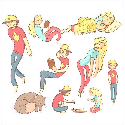 People Realxing Illustration Set