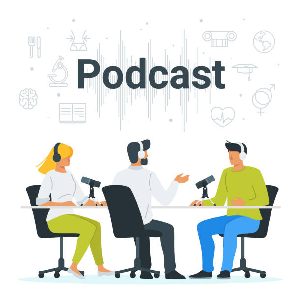 people recording podcast in studio flat vector illustration - podcast stock illustrations