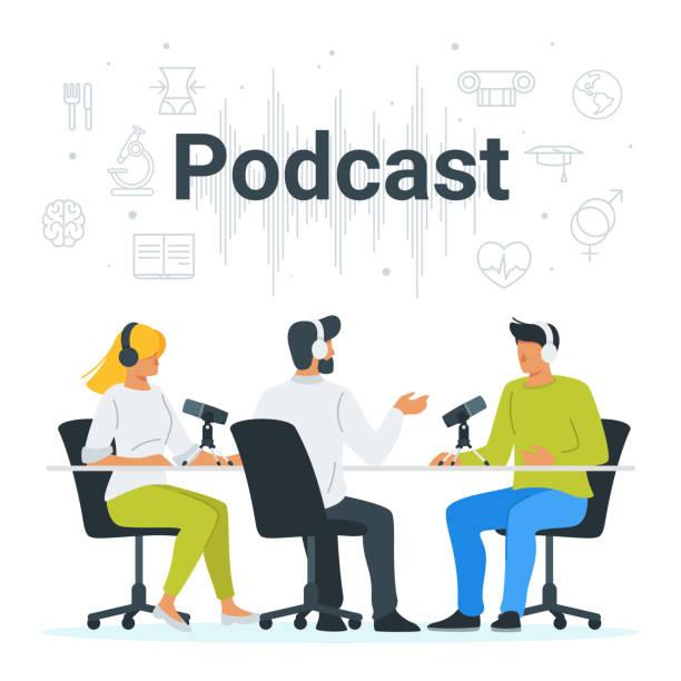 ilustrações, clipart, desenhos animados e ícones de pessoas que gravam o podcast na ilustração lisa do estúdio - podcast