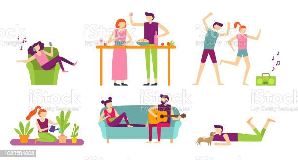 People recreation at home young couple spending holiday and relax vector id1083584608?b=1&k=6&m=1083584608&s=612x612&h=fu7wqnnb5blyh1tigdvluvsossnc75h0a59te2nr3no=
