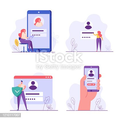istock People register online set. Registration or sign up user interface. Users use secure login and password. Collection of online registration, sign up, user interface. Vector illustrations for UI, mobile app 1210117007