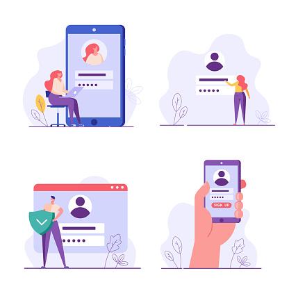 People register online set. Registration or sign up user interface. Users use secure login and password. Collection of online registration, sign up, user interface. Vector illustrations for UI, mobile app