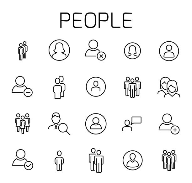 People related vector icon set. vector art illustration