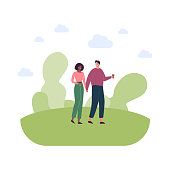 People relationship and dating concept. Vector flat style illustration. Couple of walking caucasian man and african american woman friend or lover on date. Outdoor summer walk in park with coffee.
