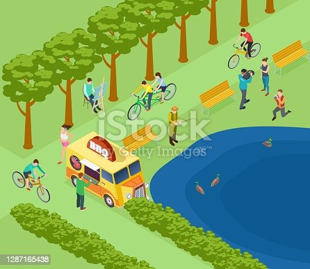 istock People relax in park, ride bicycle, photograph and fishing, eat and jogging. Isometric green park vector concept 1287165438