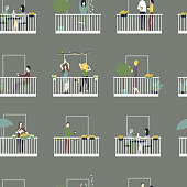 People relax on the balconies.  Vector  seamless pattern.