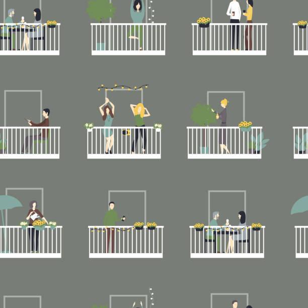 ilustrações de stock, clip art, desenhos animados e ícones de people relax on the balconies.  vector  seamless pattern. - isolated house, exterior
