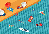 Resort top view. People relax on the beach and swimming in the sea. Cartoon illustration.