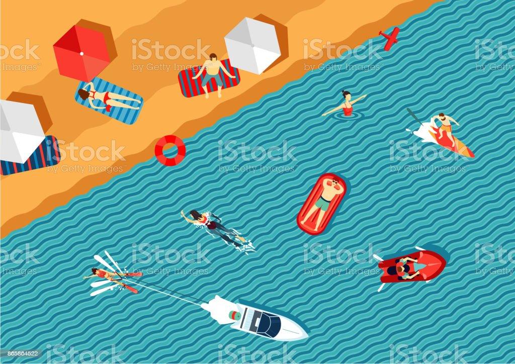 Menschen entspannen Sie am Strand und im Meer zu schwimmen. Ansicht von oben. Flachen Stil. – Vektorgrafik