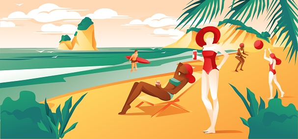 People Relaxing at Beach or Summer Tropical Coast.
