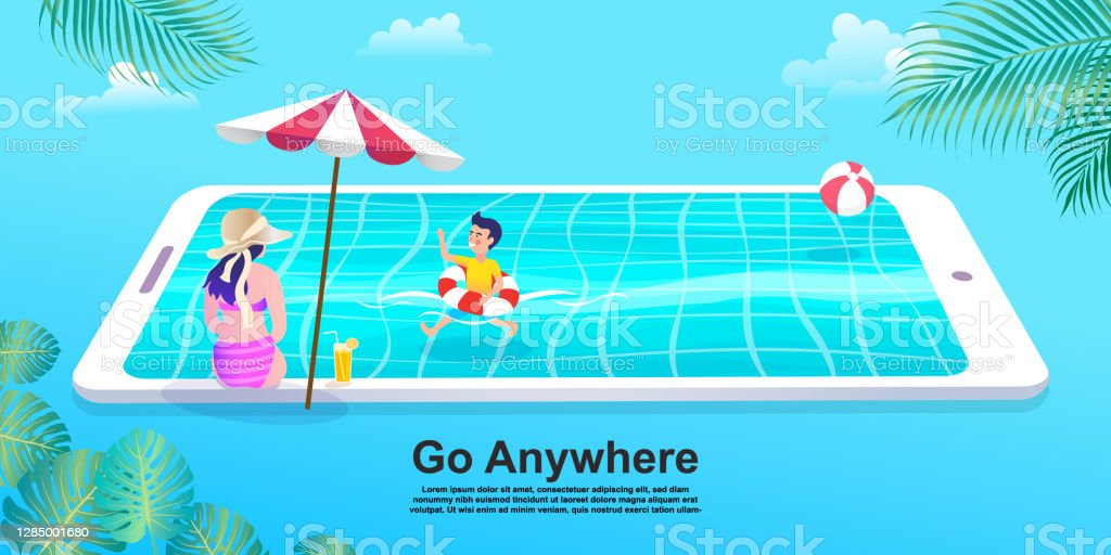 Ludzie relaks na plaży i pływanie w basenie smartphone, Dziewczyna w bikini z telefonem komórkowym. Płaska kreskówka kobieta i chłopiec Charakter. - Grafika wektorowa royalty-free (Analizować)