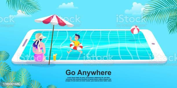 Ludzie Relaks Na Plaży I Pływanie W Basenie Smartphone Dziewczyna W Bikini Z Telefonem Komórkowym Płaska Kreskówka Kobieta I Chłopiec Charakter - Stockowe grafiki wektorowe i więcej obrazów Analizować