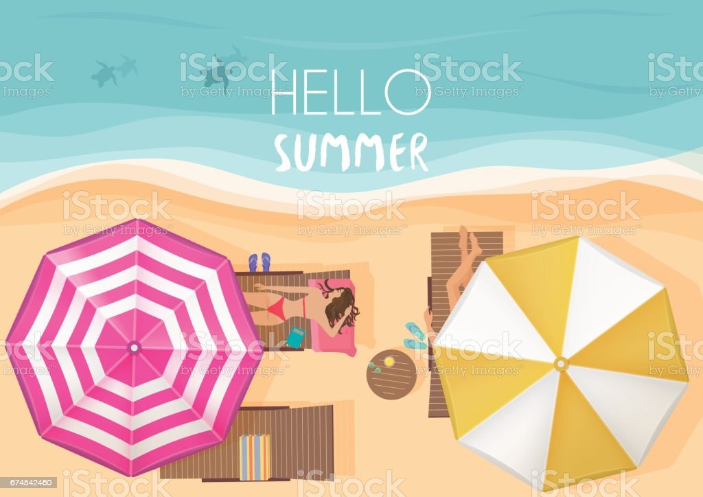 People relaxing by the ocean with hello summer words. Vector illustration. Exotic summer vacation top view. vector art illustration