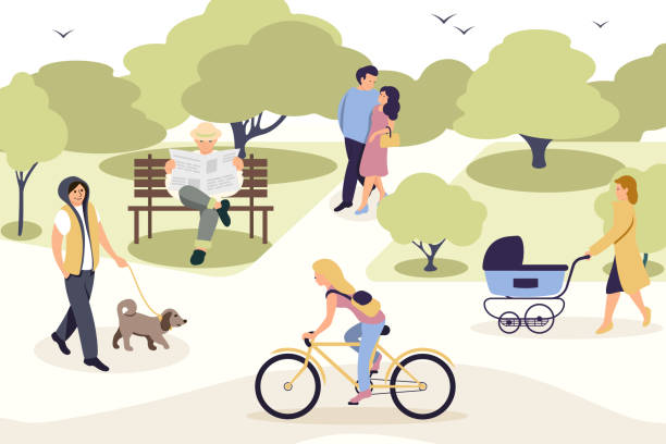 illustrazioni stock, clip art, cartoni animati e icone di tendenza di people relaxing in park flat vector illustration - city walking background