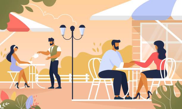 illustrazioni stock, clip art, cartoni animati e icone di tendenza di people relaxing in summer cafe outdoors, relax - dinner couple restaurant
