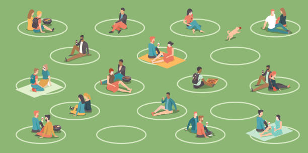 People relaxing in the city park. Circles on the grass to help people keep social distance. BBQ area. Social distancing during coronavirus COVID-19 quarantine. vector art illustration