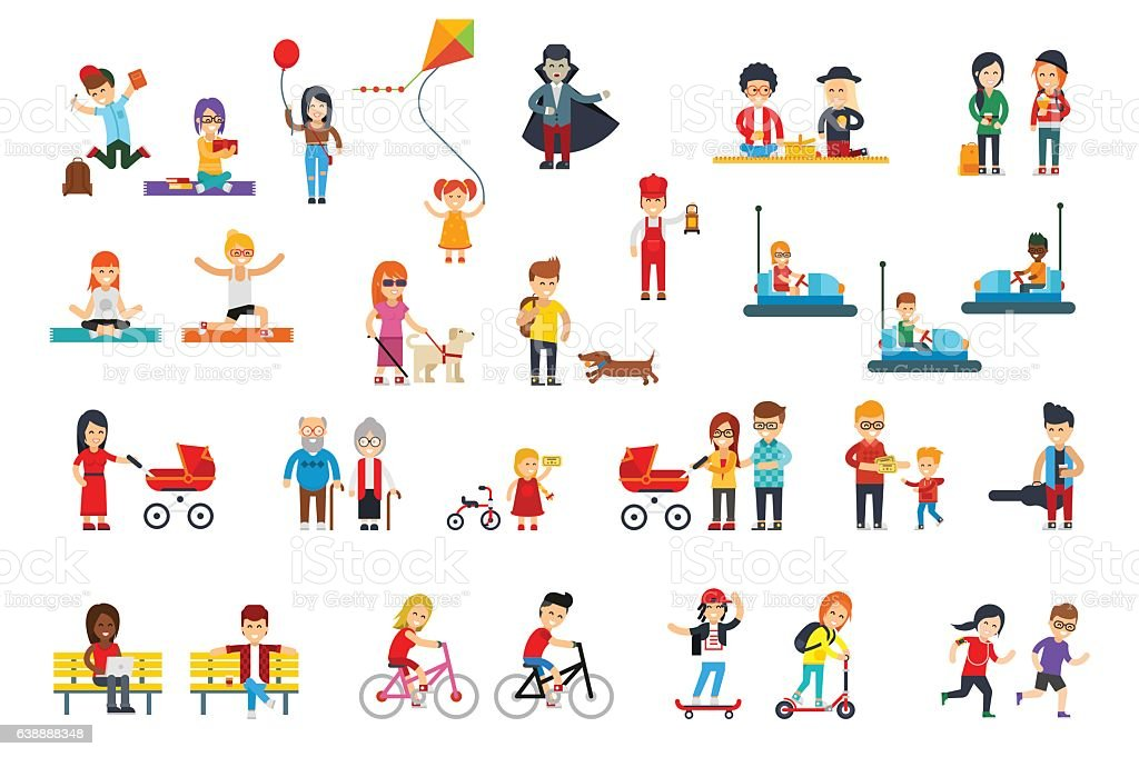 People rest in the park vector flat design isolated vector art illustration