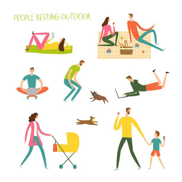 屋外で休んでいる人々 を設定します。 - ピクニック点のイラスト素材/クリップアート素材/マンガ素材/アイコン素材