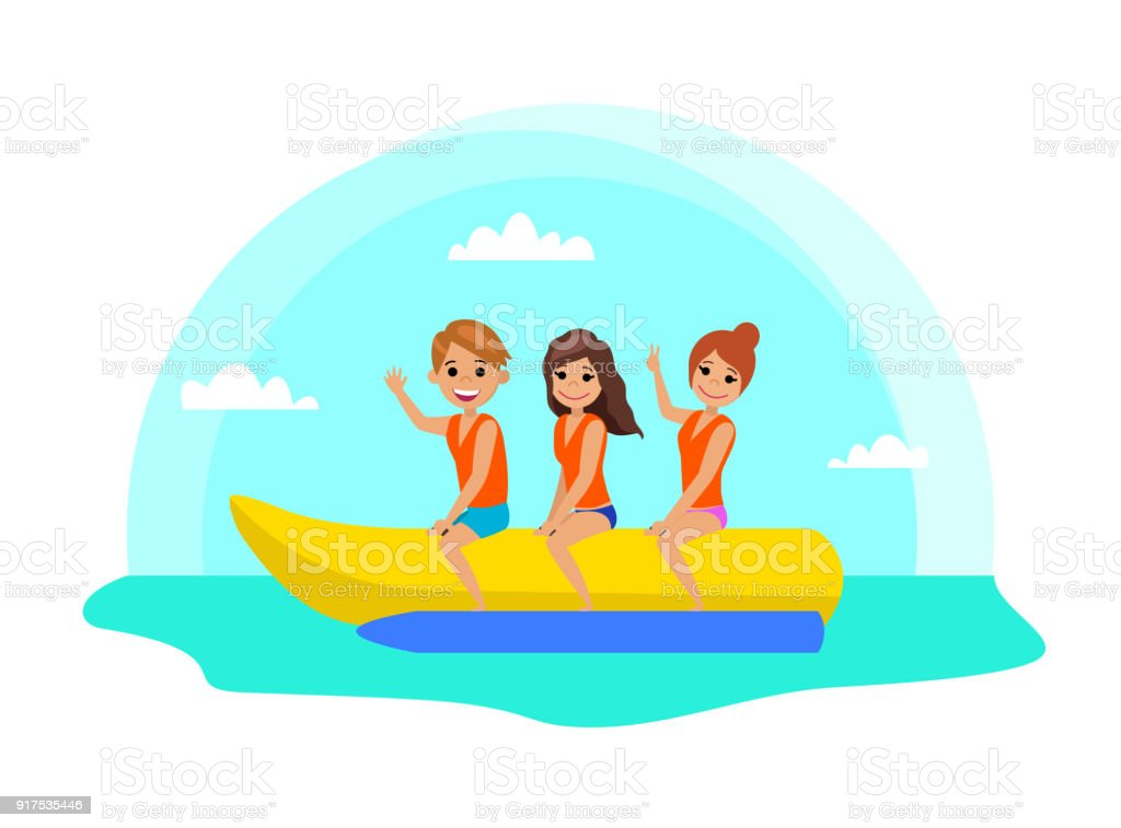 People ride on the banana boat. vector art illustration
