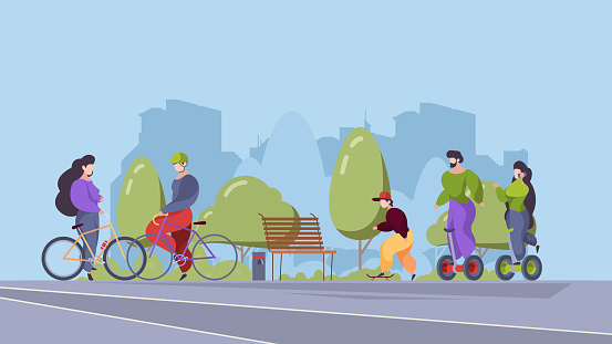 People riders in urban park. Outdoor sport activities in city active relax happy persons riding on bike electric scooter segway bicycle garish vector stylized flat background