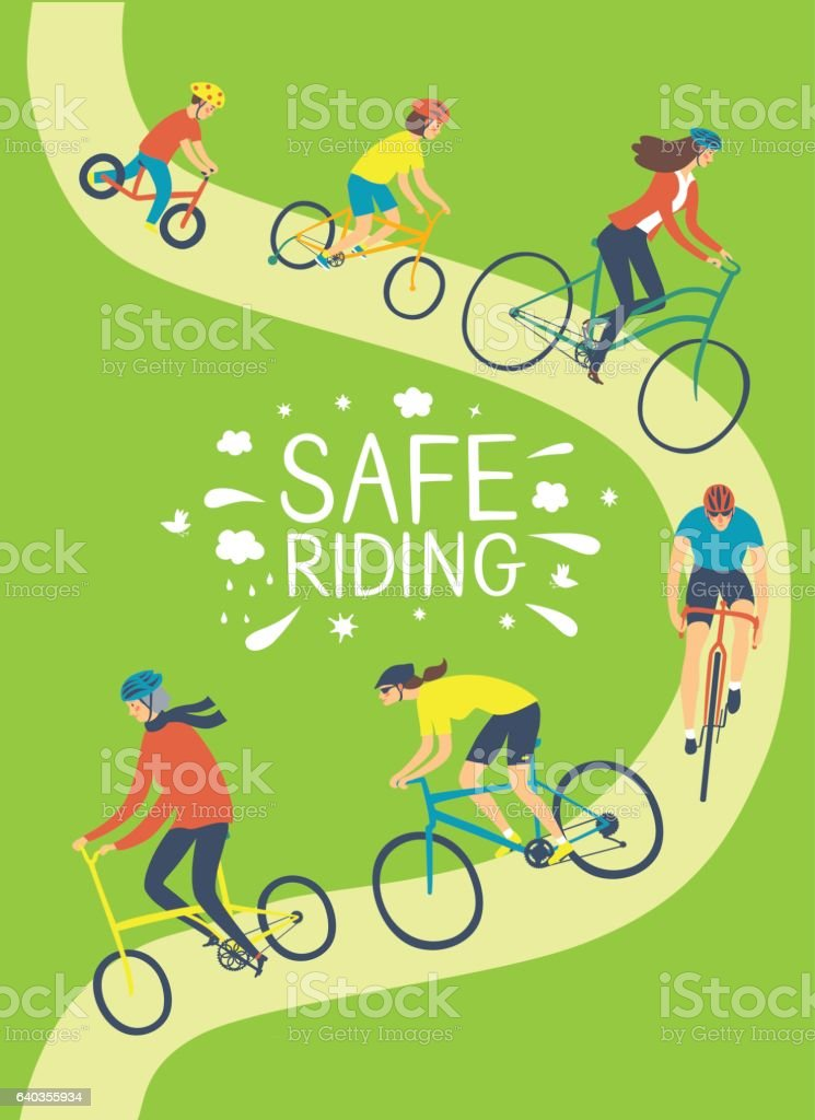 People riding a bicycle and wearing helmets vector art illustration