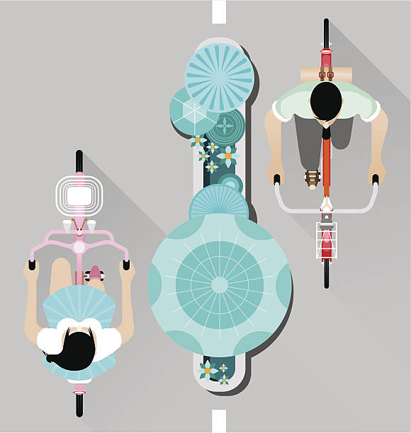 People riding a bicycle on street top view vector vector art illustration