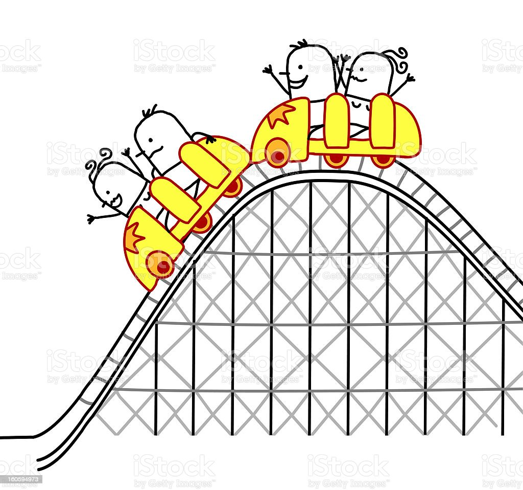 people riding a roller coaster vector art illustration