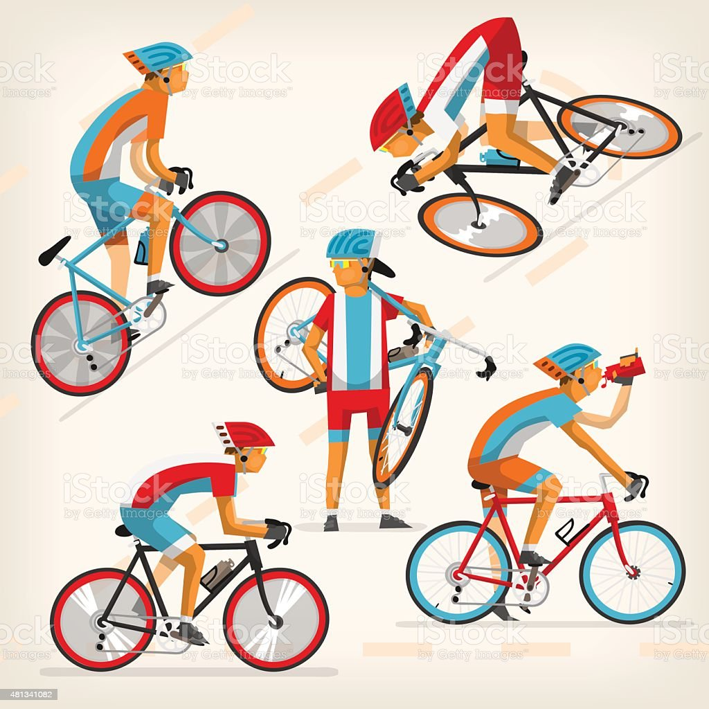 People riding bike at full speed vector art illustration