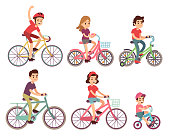 People riding bike. Flat cyclist on bicycles vector set