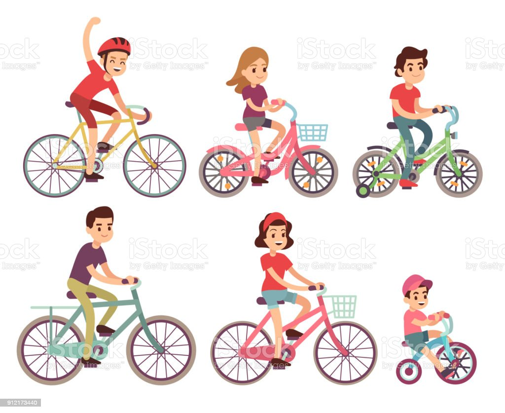 People riding bike. Flat cyclist on bicycles vector set vector art illustration