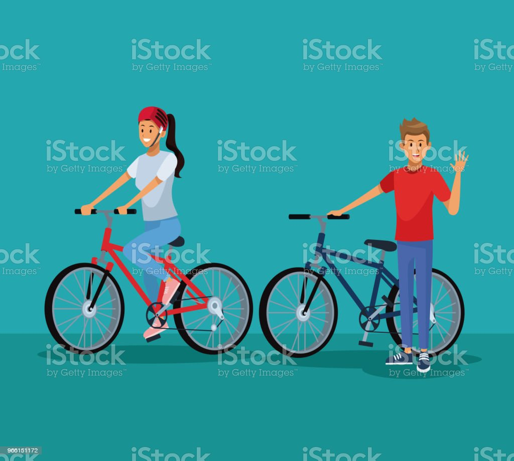 People riding bikes - Royalty-free Adulto arte vetorial
