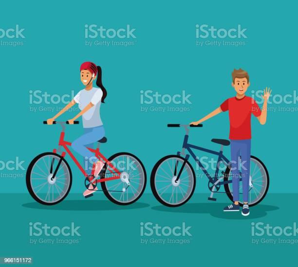 Persone In Bicicletta - Immagini vettoriali stock e altre immagini di Abbigliamento sportivo