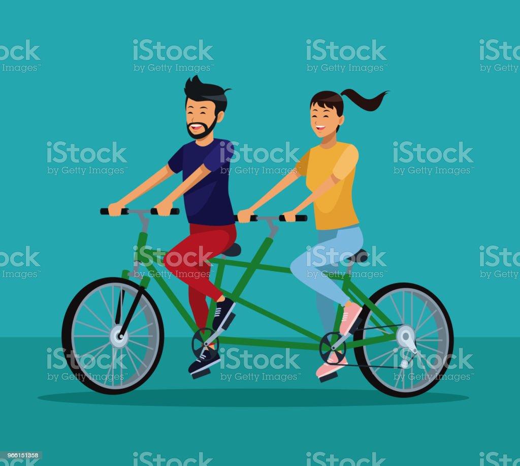 Mensen paardrijden fietsen - Royalty-free Apparatuur vectorkunst