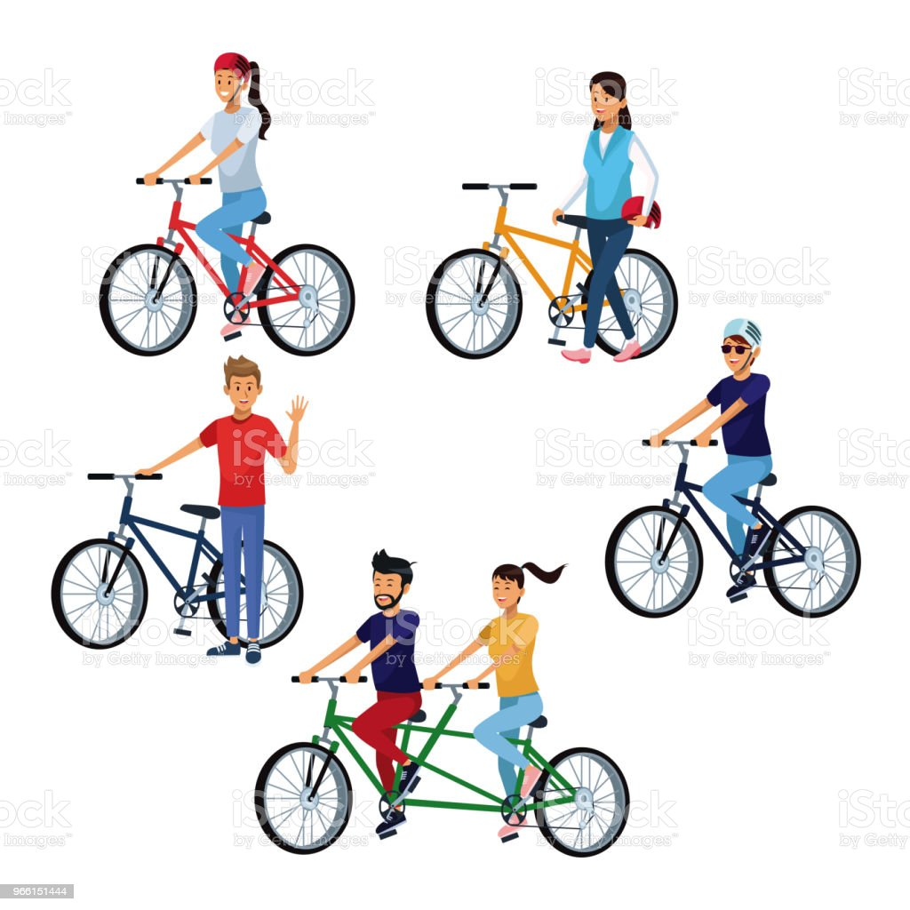 People riding bikes - Royalty-free Bicycle stock vector