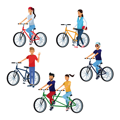 People Riding Bikes Stock Illustration - Download Image Now