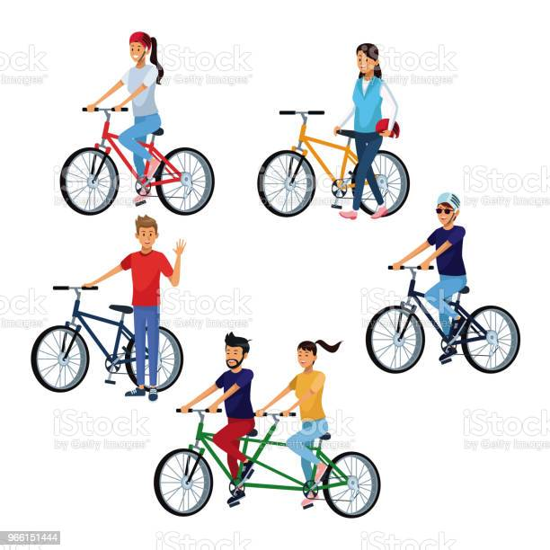 People Riding Bikes — стоковая векторная графика и другие изображения на тему Байкер
