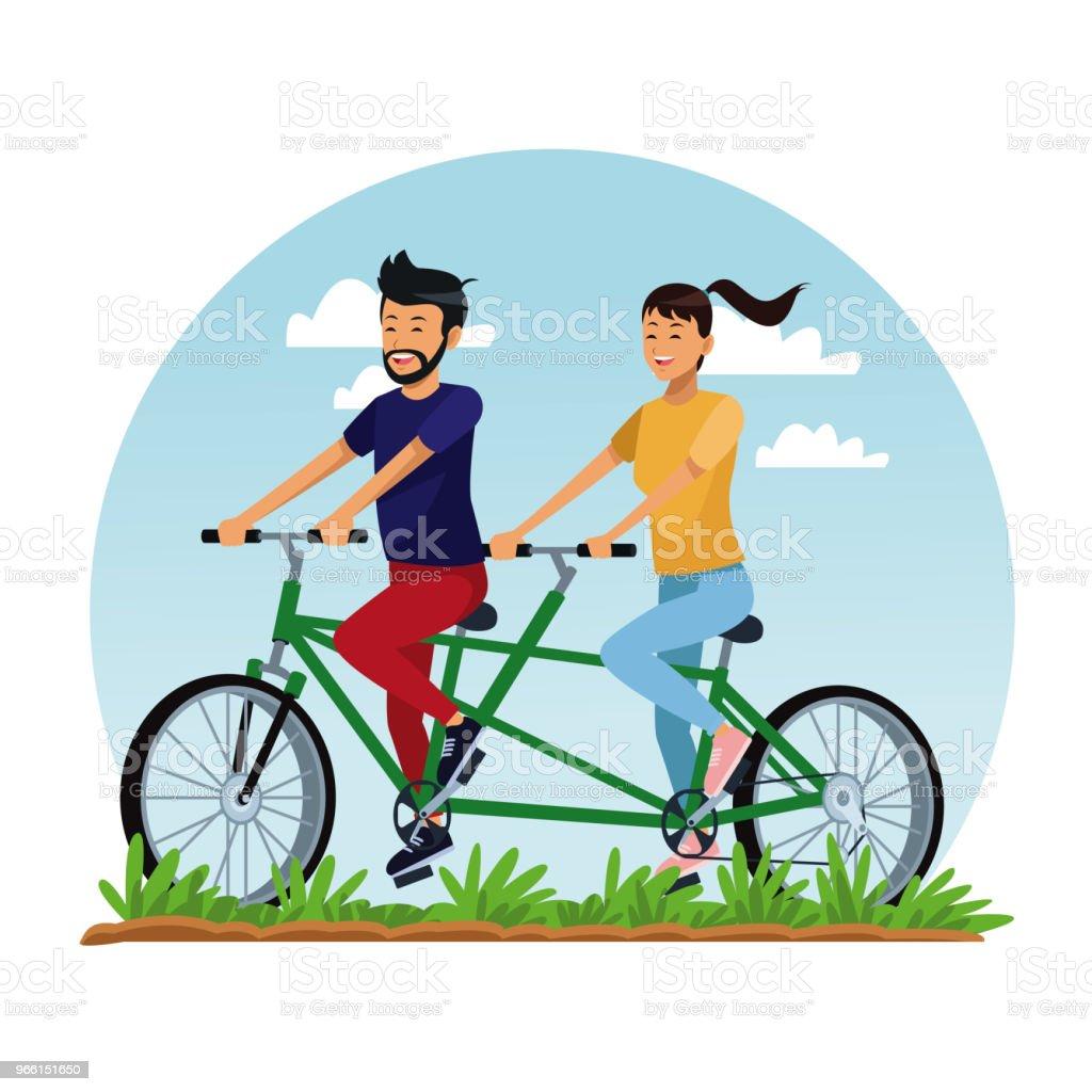 People riding bikes - Royalty-free Ao Ar Livre arte vetorial