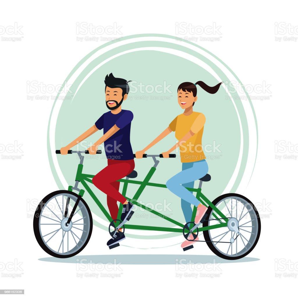 Människor ridning cyklar - Royaltyfri Avkoppling vektorgrafik