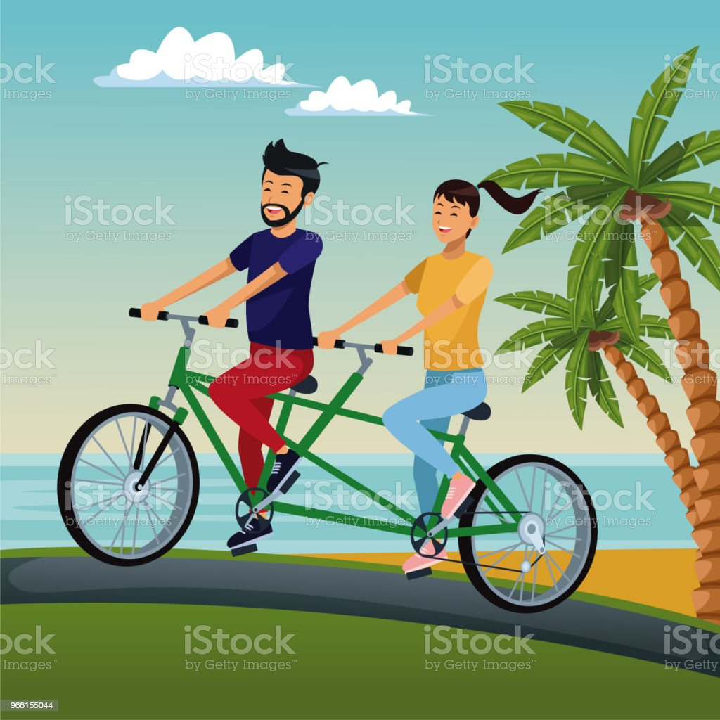 People riding bikes - Royalty-free Beach stock vector
