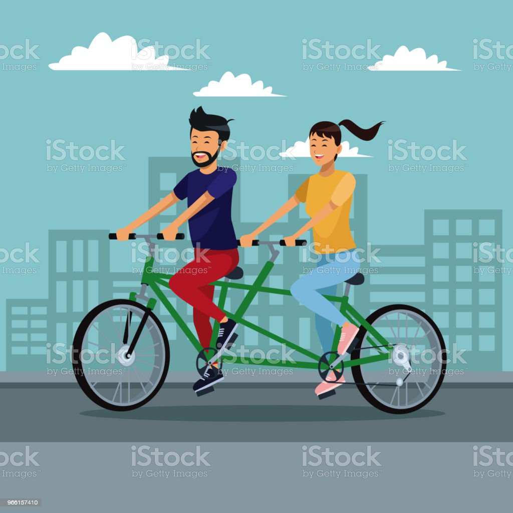 People riding bikes - Векторная графика Байкер роялти-фри