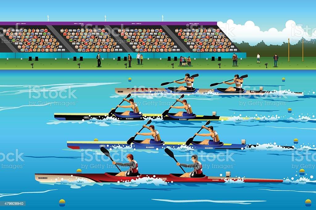Leute Reiten Kanu in river, die während der Wettkämpfe – Vektorgrafik