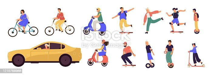 istock People riding. Cartoon characters on modern electric city transport, longboard scooter bicycle unicycle. Vector personal transporters 1215766988