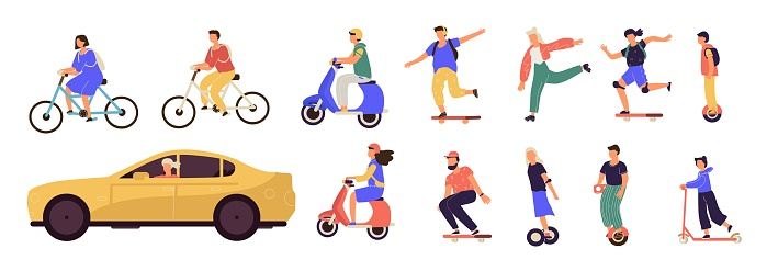 People riding. Cartoon characters on modern electric city transport, longboard scooter bicycle unicycle. Vector personal transporters