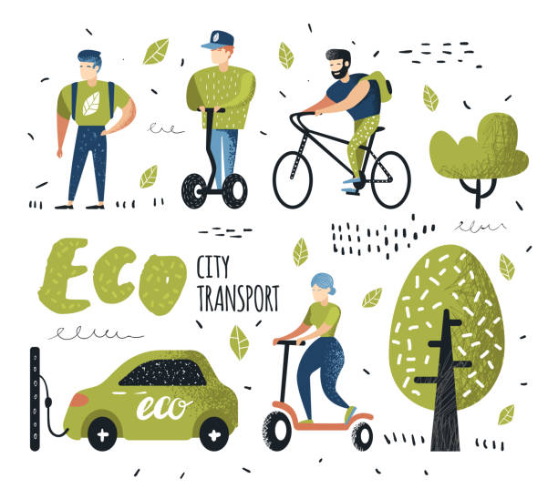 people riding eco transportation. green urban city transport. ecology concept. man on bicycle, woman on pushscooter, electrical car. vector illustration - охрана окружающей среды stock illustrations
