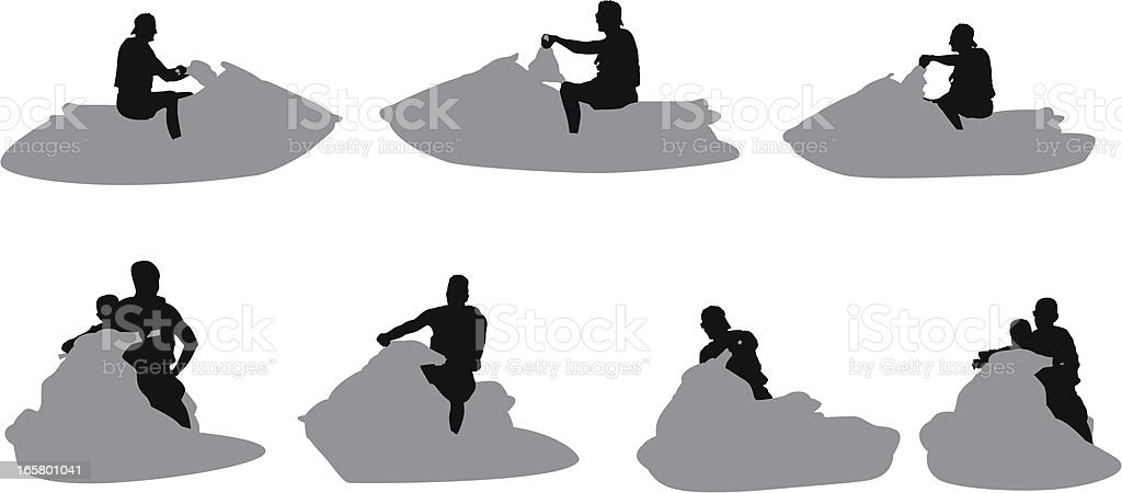 People riding jet skis royalty-free stock vector art