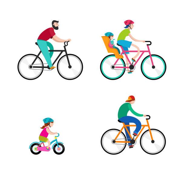 ilustraciones, imágenes clip art, dibujos animados e iconos de stock de personas que viajan en bicicletas en el parque, vacaciones activas en familia - andar en bicicleta
