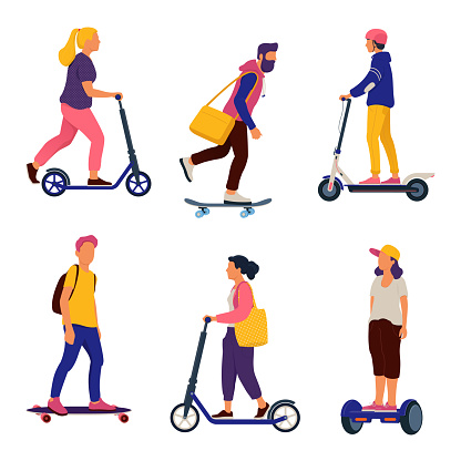 People riding personal transporters