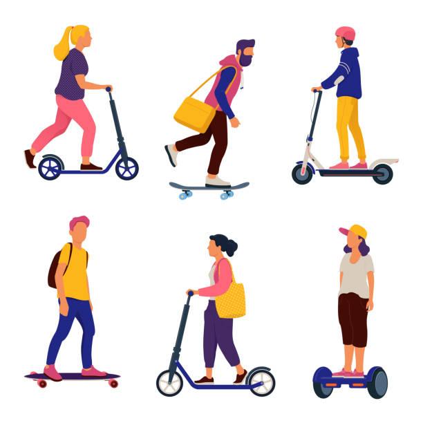 stockillustraties, clipart, cartoons en iconen met mensen rijden personal transporters - step