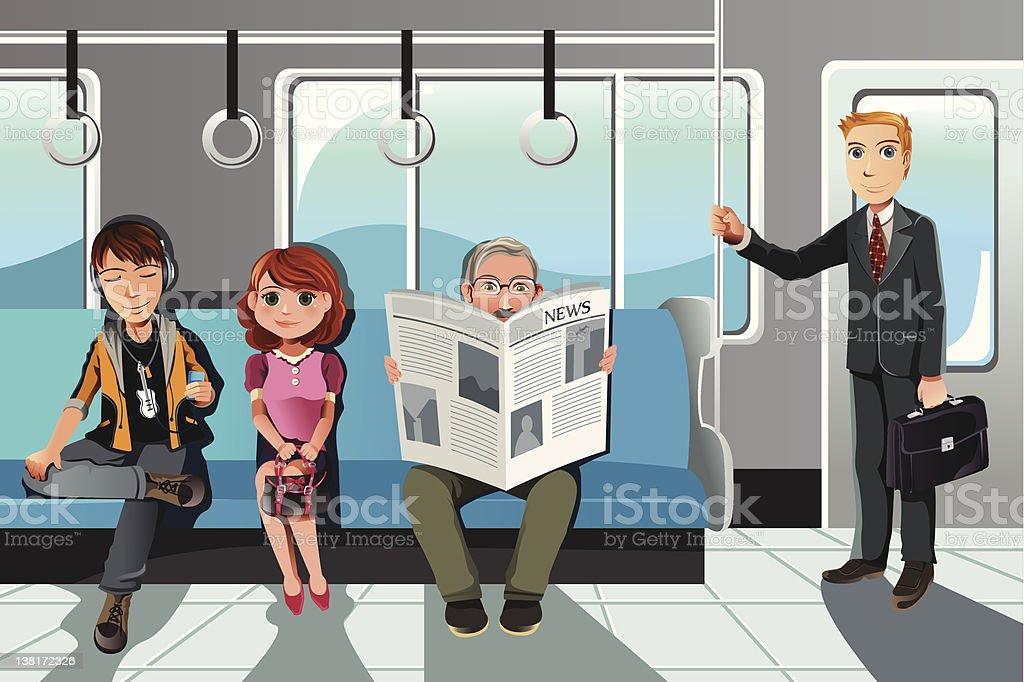 People riding train vector art illustration