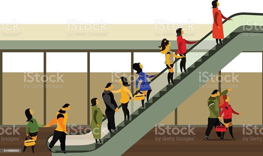 people rise on the escalator vector art illustration